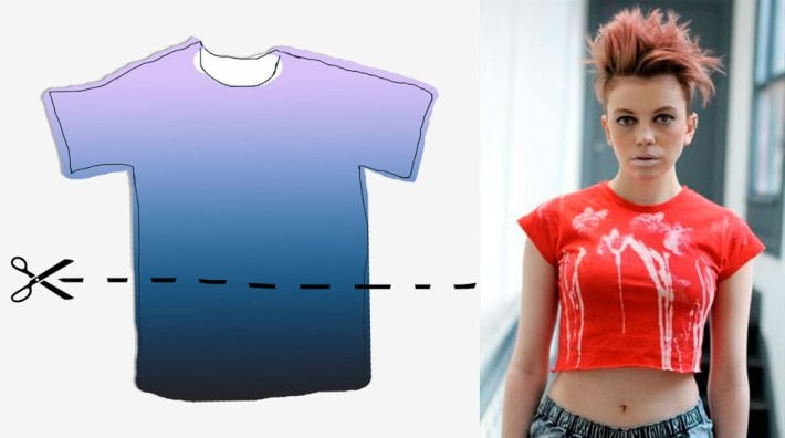 Как из обычной футболки сделать на одно плечо