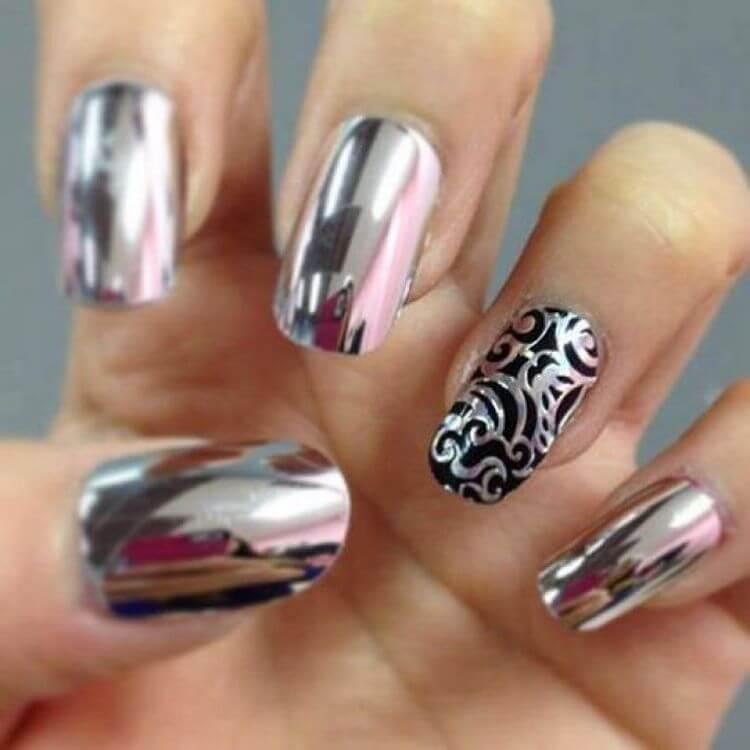 серебряные гелевые ногти