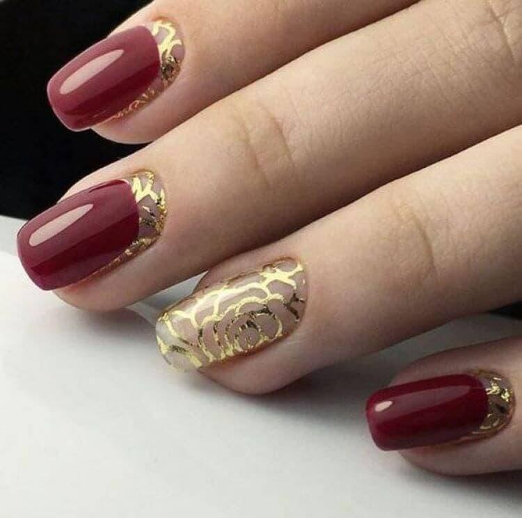 красный и золотой дизайн ногтей