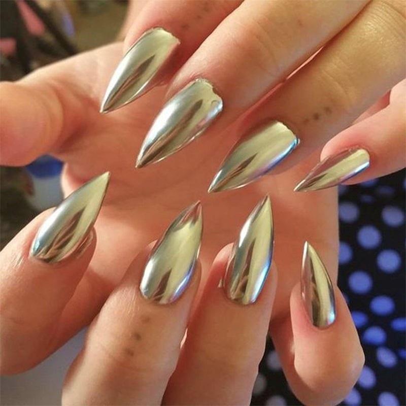серебряные зеркальные ногти формы стилет