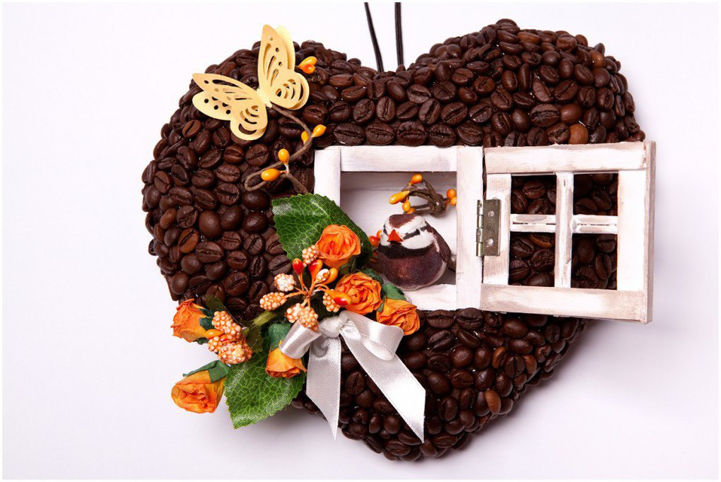 Поделки для детей из кофейных зерен 94