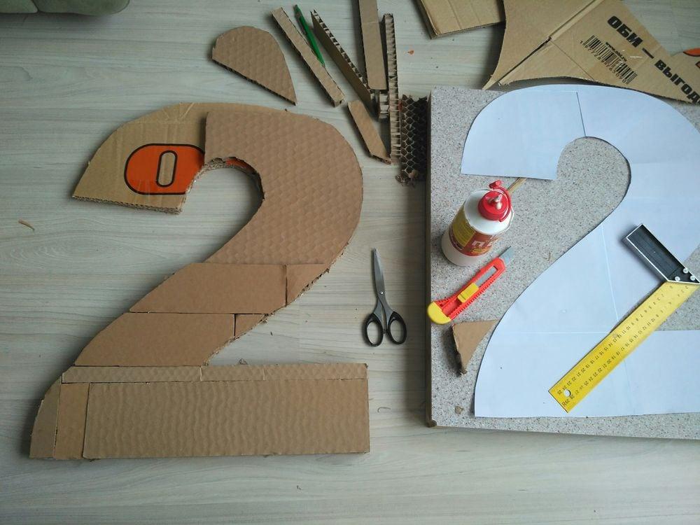 Цифра 2 из картона своими руками размеры 97