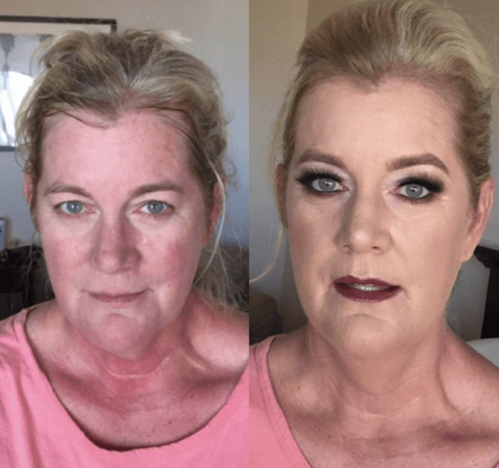 женщины с макияжем и без