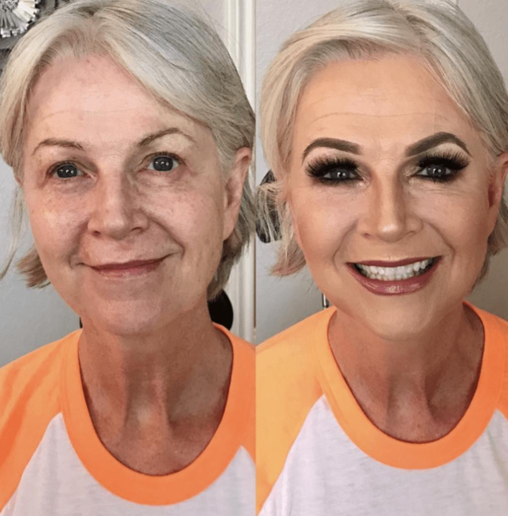 женщина с большим количеством макияжа