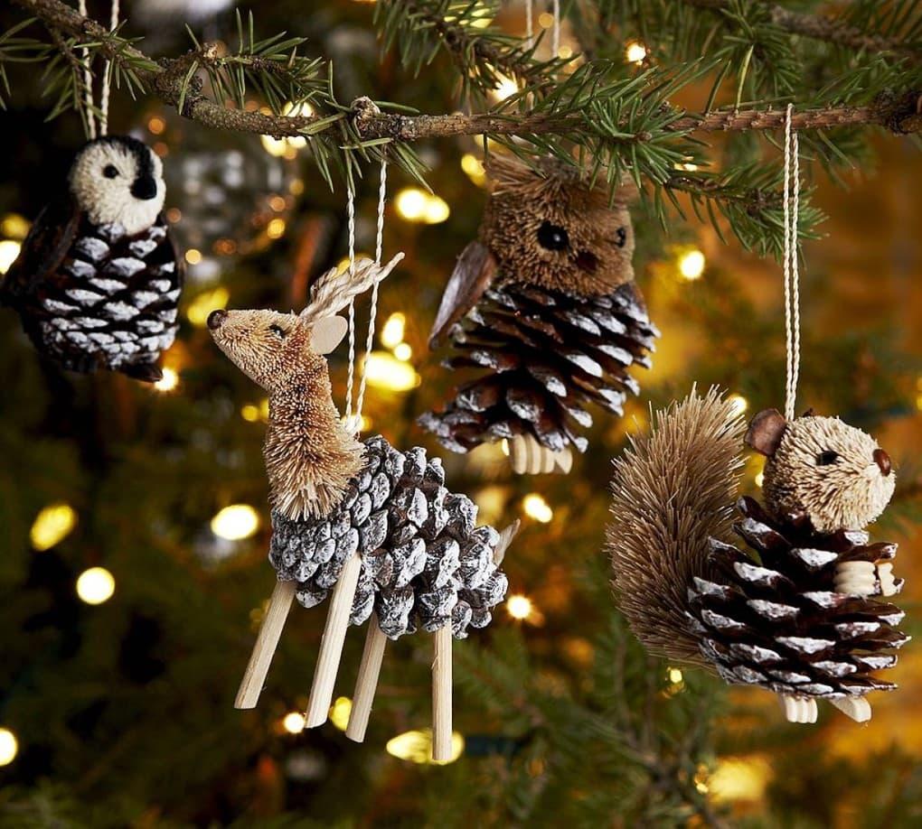 новогодние ёлочные украшения из шишек