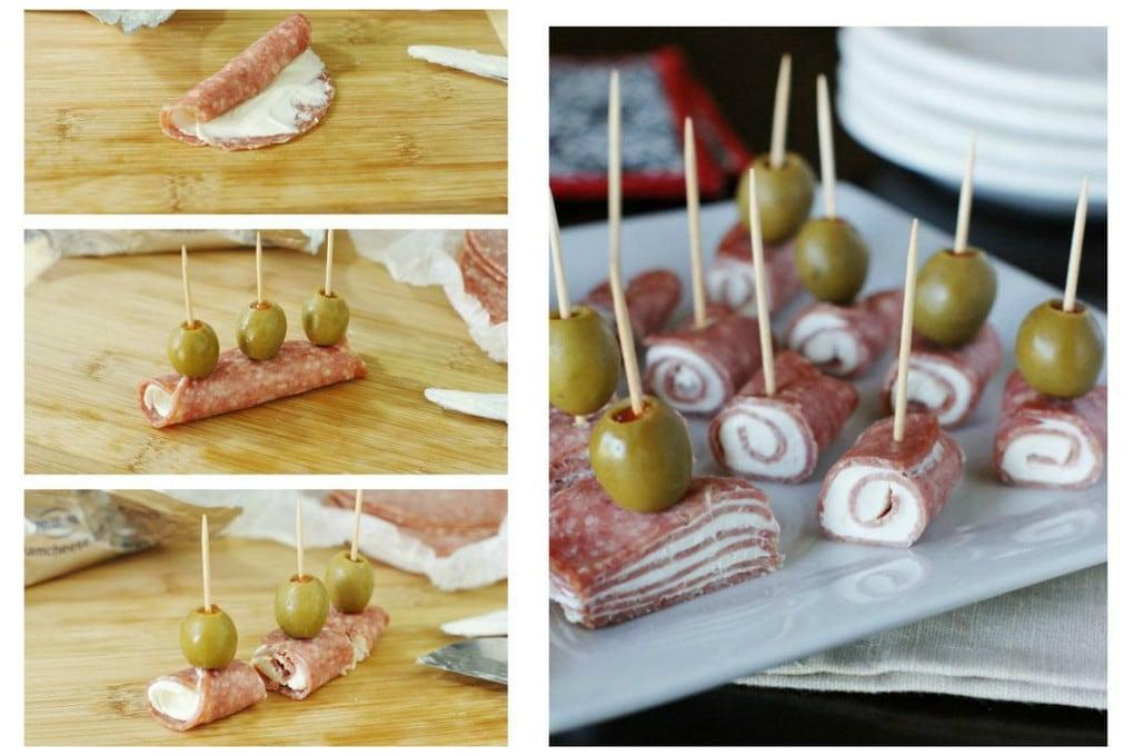 рулетики с салями и сливочным сыром