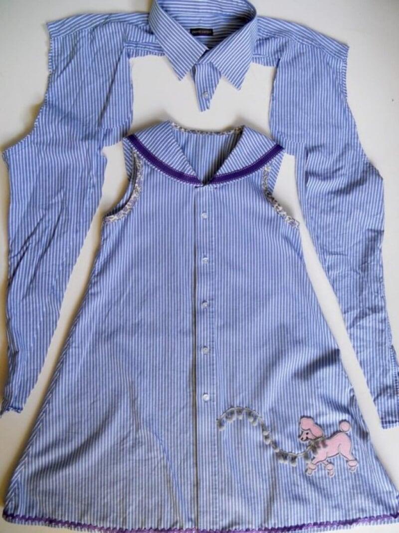 превратить рубашку в платье для девочки