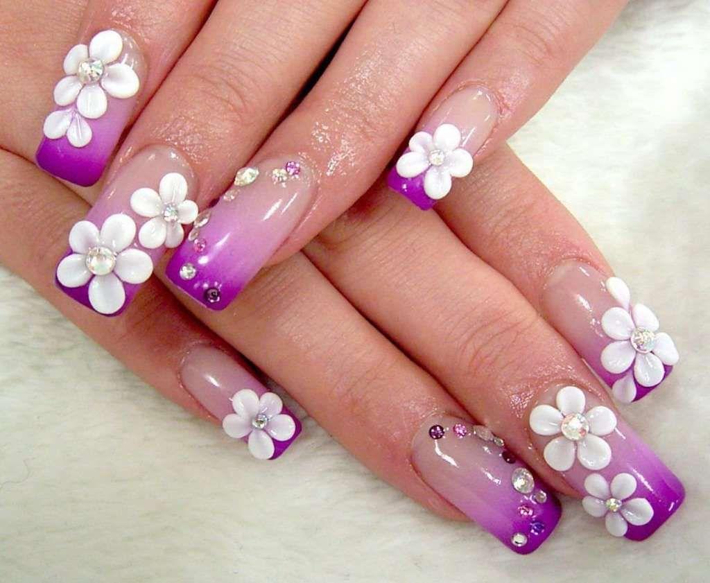 цветы из акрила на ногтях
