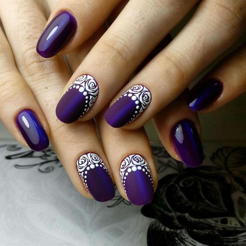 рисунки на фиолетовых ногтях
