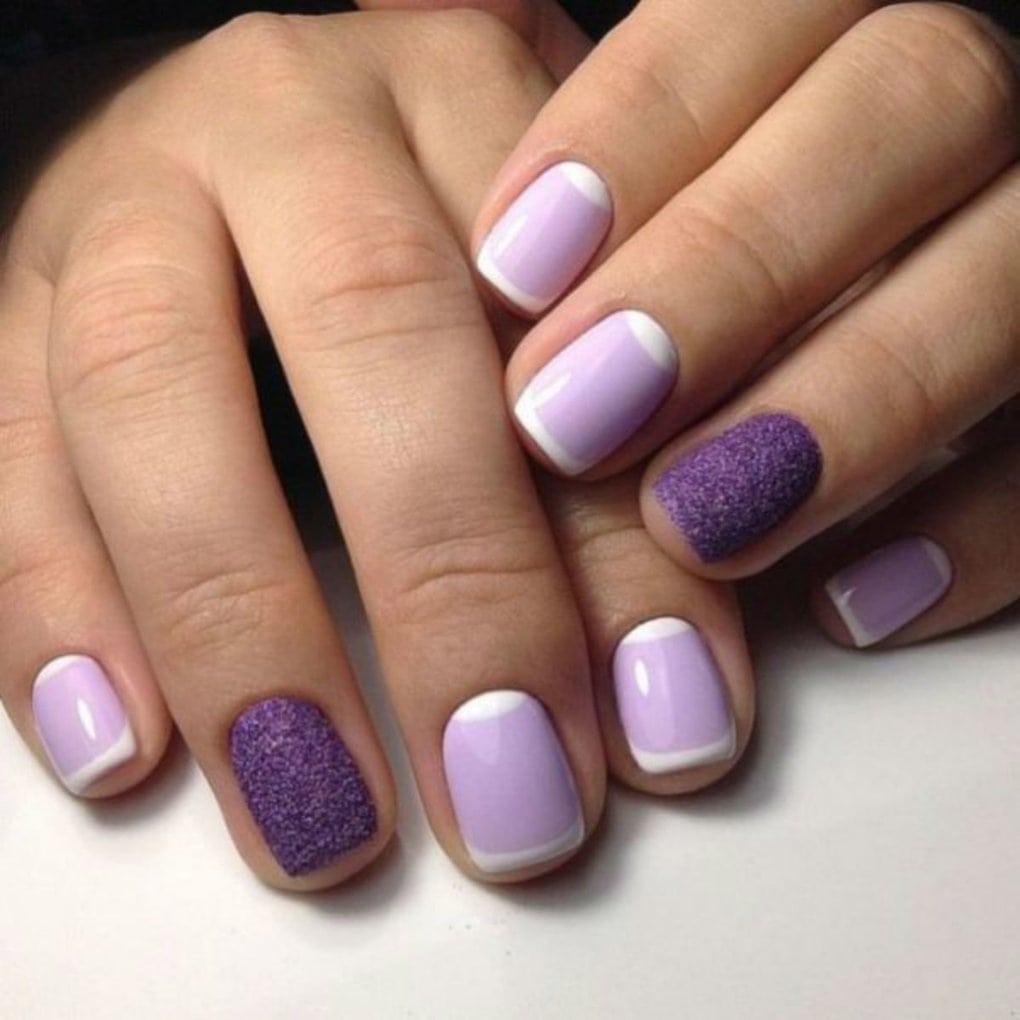 маникюр на короткие ногти фиолетовый