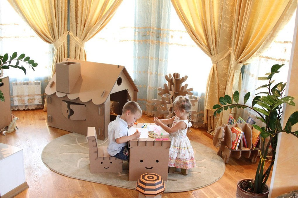 домик для детей из картонных коробок