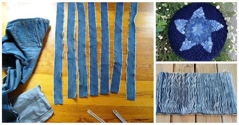 Разрезав старые джинсы на фрагменты, вы можете сделать очаровательные вещи для дома