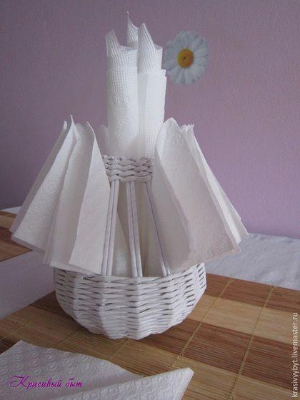 салфетница плетеная из бумажной лозы