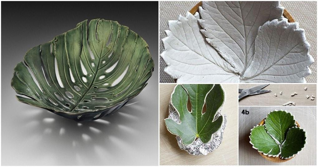 Красивые и очень простые в исполнении миски из листьев и глины