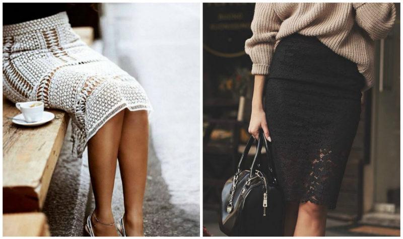 кружевная юбка-карандаш 2019