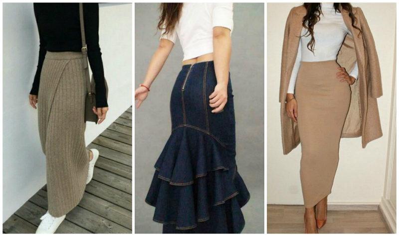 Удлинённая юбка-карандаш 2019