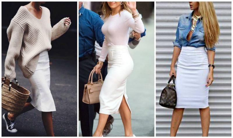 Белая юбка карандаш 2019