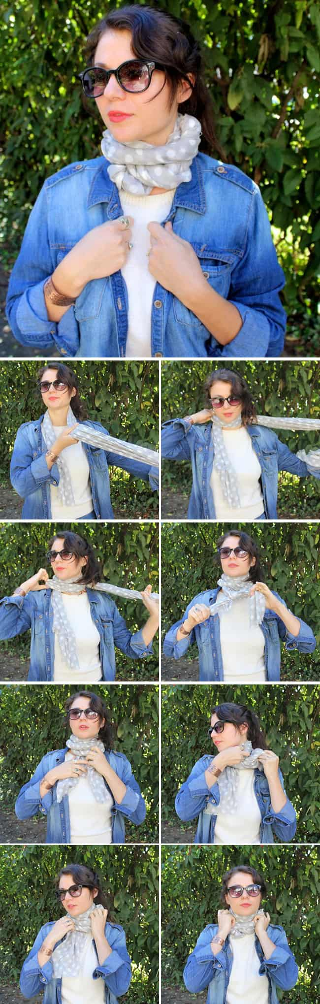 Как надевать широкий шарф