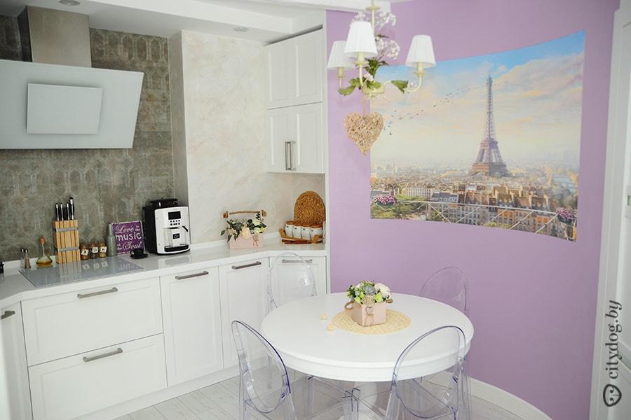 дизайн кухни цвет лаванда