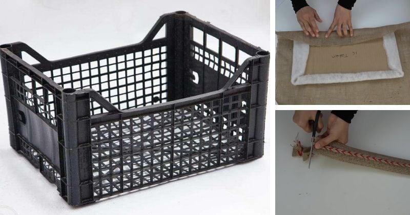 Мешковина + пластмассовый ящик - результат: красивый сундучёк