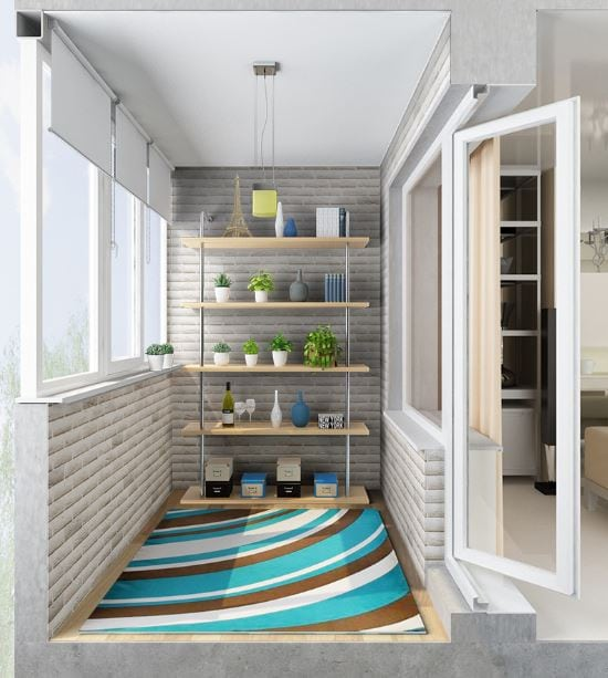 Светлый, стильный и уютный балкон в скандинавском стиле