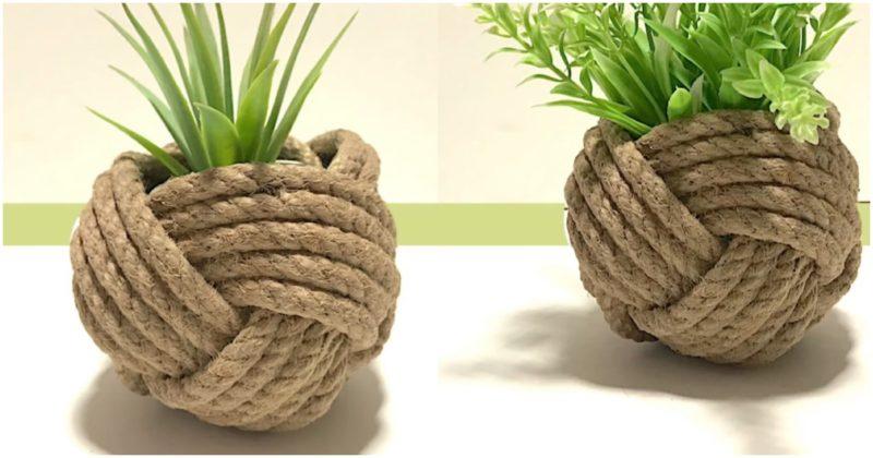 Отличная идея для цветоводов из обычного толстого каната