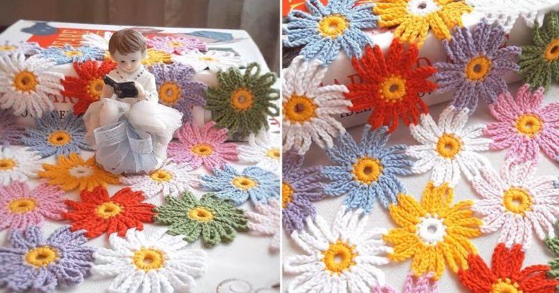 Цветочная поляна крючком из остатков пряжи
