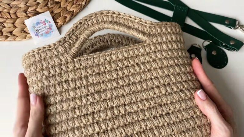 Стильная вязаная сумка из джута практически за один вечер